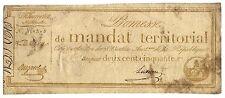 PROMESSE DE MANDAT TERRITORIAL . 250 FRANCS BISTRE..