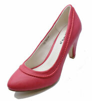 LADIES RED SMART LOW-HEEL COMFY WORK SECRETARY SLIP-ON COURT SHOES SIZES 2-8