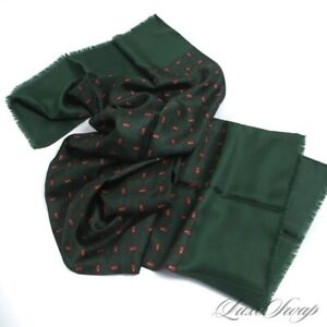 Anonymous 100% French Silk Billiard Green Paisley Cube Layout Fringed Scarf NR