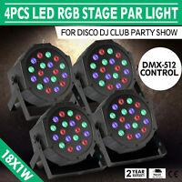 4PCS 18X1W LED Stage Light RGB DMX-512 18W Lights Lighting Auto Wash Color