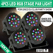 4PCS 18X1W LED Stage Light RGB DMX-512 18W Lights Lighting Auto Wash Color