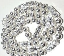 """Silver Ball & Bar Necklace 6 mm 26"""" New Large Size Men Handmade solid .990 Fine"""
