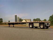 1/64 DCP SILVER WILSON ROADBRUTE SPREAD AXLE FLATBED TRAILER W/ TOOL & WHEEL BOX