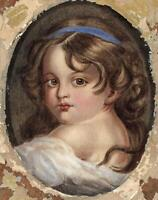 YOUNG GIRLS PORTRAIT Victorian Watercolour Painting - 19TH CENTURY