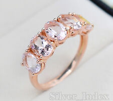 Natural Oval Cut Morganite Gemstone 14K Rose Gold Plating Promise Ring For Women