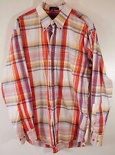 PENDLETON Plaid Check Gingham ORANGE BLUE YELLOW Shirt M Medium Mens