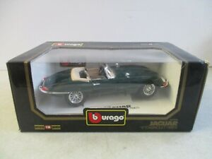 BURAGO DIAMONDS 1/18 SCALE JAGUAR E CABRIOLET 1961 CAR IN ORIGINAL BOX