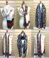 Women's Ladies Soft Silk Manchester Honey Bee Leopard Print scarf Wrap shawl