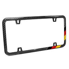 Real Black Carbon Fiber German Flag Sports Stripe Slim License Plate Frame