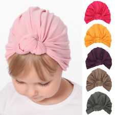 Infant Toddler Baby Turban Stretchy Beanie Caps Solid Color Hair Head Wrap Cap
