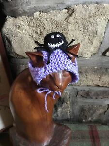 Hand Knitted Spooky Spider Halloween Hat For Your Cat/small Dog ,New