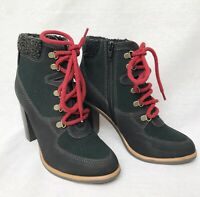 M&S Grey Black & Red High Heeled Lace Up Boots UK Size 3