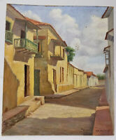 Antique Vintage Cityscape Oil On Board Painting Spanish Mexican Ballesteros