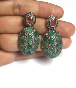 925 Sterling Silver Earring Natural Ruby Emerald Earring Pave Diamond Earring