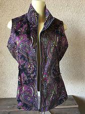 Tail Vest Paisley Medium Womens M Cotton/Spandex Black Green Purple Collar NICE