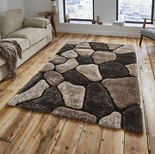 Noble House Hand Tufted 3d Pebble Design Shaggy Pile Rug Super Soft Large Mat Beige & Brown 150cm X 230cm