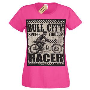 Bull city T-Shirt Speed thrills racer biker motorbike T-Shirt Womens Ladies