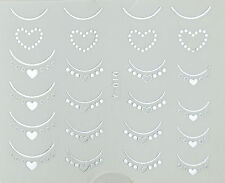 Silver Hearts French Nails Water Transfer Nail Art Stickers Decals Gel Polish