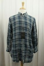 NEW John Varvatos Mens Shirt L Large Button Down 100% Linen Blue Plaid NWT