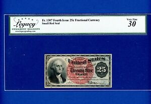 .25 CENTS GEORGE WASHINGTON FRACTIONAL CURRENCY FR1307 4TH ISSUE Legacy 30 VF
