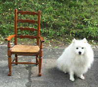 Charming Old Antique Vintage Childs Rush Seat Ladder Back Dining Hall Chair