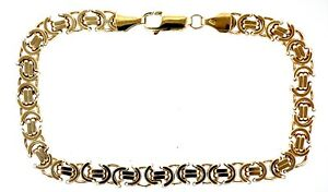 """9ct Yellow Gold 8.25"""" 6mm Gauge Filed Rounded Byzantine Bracelet - 14.2 Grams"""