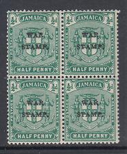 Jamaica Sc MR4 MNH. 1916 ½p green block, UR stamp with stop & quad variety