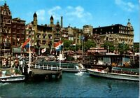 Vintage Postcard Amsterdam Damrak met Rondvaartboten Netherlands Unposted