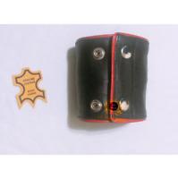 Ak Mani,Red Piping Genuine Leather Wristband Armband Zipper Pocket Wrist Band