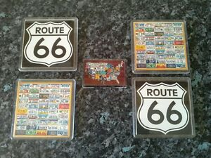 American License Plates / Route 66 Coasters with Fridge Magnet. NEW. Acrylic