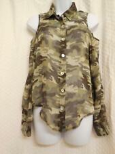 Sheer Green Camo Cold Shoulder Button Down Blouse Top Shirt sz XS Camouflage