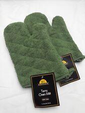 Terry Oven-mitt Set of 2 Sage Green New Oven Mitt Mit Mitts 100% Cotton