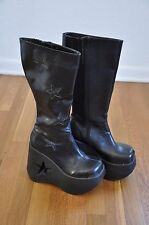 Demonia Dynamite 600 Sz 7.5 Black Boots Goth Punk Lolita Glitter Star Platform