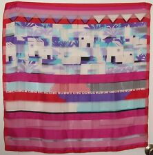 "TERRIART Fuchsia, Aqua, Purple, Red Abstract Stripes 30"" Square Scarf-Vintage"