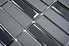 Mosaïque carreau baguettes céramique noir non vitré verre 24-CUSTG71_b  1 plaque