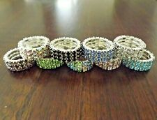 12 Pack Lot 3 Row Silver Rhinestone Crystal Stretch Ring - Bling Bling Ring