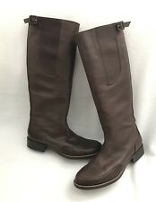 MARNI £800 Designer Brown Leather Low Heel Knee High Boots s.39.5