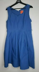 Modcloth Size XL Blue Sleeveless Dress Solid Fit & Flare Stretch Rayon