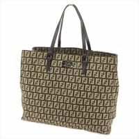 Fendi Tote bag Zucchino Brown Beige Canvas Leather Woman Authentic Used H609