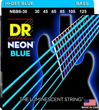 DR NBB6-30 Neon Blue BASS Guitar Strings 6-String set gauges 30-125