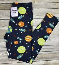 PLUS Size Outer Space Leggings Planets Rocket Ship Science Printed Curvy
