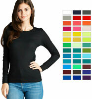 Women Basic Thermal Long Sleeve Waffle Crew Neck T Shirt Winter Plain Knit Warm