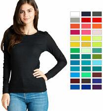 Women Basic Thermal Long Sleeve Waffle Crew Neck T Shirt Winter Plain Knit Warm