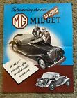 MG Range TD Midget & 1¼ litre Saloon Original UK Sales Brochure 1950 Art Poster