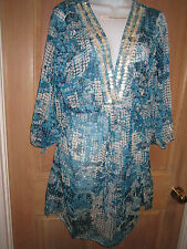 NEW✿ Blue Island DRESS L TUNIC SHIRT Swimsuit Bikini Coverup Floral Blue Sheer