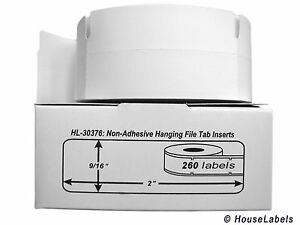 """DYMO 30376 - Thermal Hanging File Tab Inserts (9/16"""" x 2"""") - (2) Rolls of 260"""