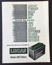 Magazine Advert LUCAS BATTERY King of the Road CAR Engine 1961 Full Page VINTAGE