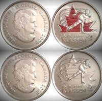 2009 Canada Golden Moments Cindy Klassen Colourized & Plain 25 Cents UNC Set!!