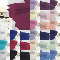 Plain Dyed Fitted Sheet Flat Sheets Poly Cotton Pair of Pillowcases 19 Colours