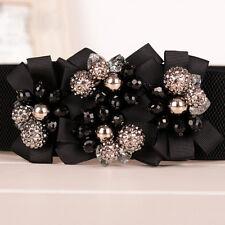 Women Vintage Beads Flower Corset Elastic Waist Belt Stretch Waistband Strap Hot